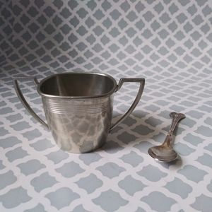 Vintage pewter cup and spoon set